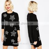 China supplier wholesale soft-touch knit fabric women's Christmas jumpers with ribbed trims