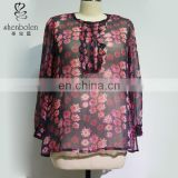 M3140 plus size clothes hot sales classical floral print chiffon blouse for middle age women