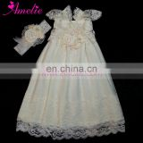 Ivory or White Color Western Baptism Party Baby Flower Girl Dress Wedding Lace Girl Dress