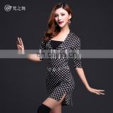 T-5112 Sexy slim black and white round dot women belly dance skirt