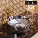 Wholesale competitve price sanitary ware bathroom silvery ceramics round art home used luxury round shape wash basin