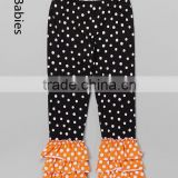 Wholesale kids clothes online summer black &orange dot ruffle leggings