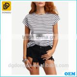 OEM Cotton Munufactory Custom Striped Cutout Back T-shirt