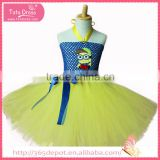 Halter top light yellow ballet dress with blue ribbon gauze dress halloween costume