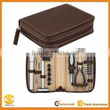 Zippered Faux Leather Carry Case,OEM Leather Electrician Tools Travel carrying case, Leather Tools storage bag