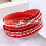 Velvet multi-layer winding leather bracelet with drill crystal twinkling shining bracelet