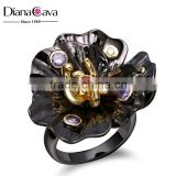 New Flower Design Cocktail Party Black & Gold Plated Amethyst Siam CZ Bezel Ring