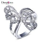 Beautiful Butterfly Shape Party Jewelry Platinum Plated Brass Jewelry Women CZ Ring