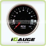 60mm Black Face White LED Motorcycle Electrical Tachometer Gauge