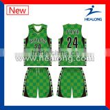 China Cheap Unique Basketball Jersey Uniform Design Green Set Wear Shirt