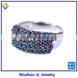 Black Opal Beads Pave Setting Silver Ring Synthetic Diamond Price 925 Silver Rings