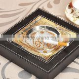 Hotel And Office Supply Luxury Pu Leather Matching Acrylic Ashtray manufacturer