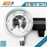 (YBX-100A) 100mm colorful dial double scale needle bottom thread all ss electric contact pressure meter gauge