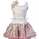 Baby Rhinestone I'm Dreaming of a PINK Christmas Colorful Polka Dots Party Dress