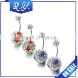 Popular shining christmas crystal navel jewelry charming ball belly piercing rings jewelry manufactures