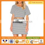 White and Black Stripe Causal Tee Shirts Dresses for Women