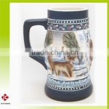 Whole Sale and High Quality Wolves Relief Ceramic Beer Mug