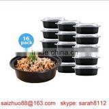 biodegradable disposable microwave oven safe round plastic food storage container with clear lid
