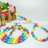 Luxury Pet Cat Dog Collar and Leash Set Colorful Beads Pearl Collar for Small Puppy
