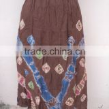 Coffee color printed pattern long dancing girls wear skirts / 100% viscose fabric printed skirts
