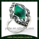 sterling silver ring with jade stone for 2013 fashion designs