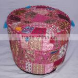 Handmade Pouf Ottoman Hand Embroidered Patchwork Pouf Cover Bohemian Pouffe Cover Indian Ottoman Round Stool Home Decor Pouffe
