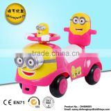 Hot sale baby licensed ride on push baby toy car Minions baby swing car