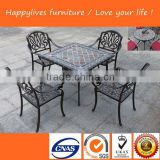 MT2696 Hotsale Waterproof manufacturer aluminum round marble table tops dining table chairs Outdoor Furniture Rattan/Wicker