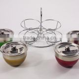 4pcs colorful stainless steel spice Jar with rack, lid and spoon