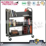 Cold rolled steel plate library furniture 3 tier book trolley mobile double sided books cart