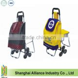 3 Wheels Stair Climber Foldable Shopping Trolley Bag With Seat