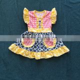XF-124 New arrival girls easter dress pocket design flutter sleeve girls dress quatrefoil polka dot print baby girls dress