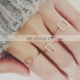 3PCS/Set Geometric Triangle Square Golden Stack Above Knuckle Ring Band Midi Finger Rings