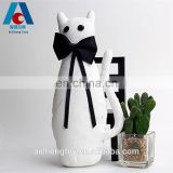 high quality custom gentleman white cat plush toys with black bowknot