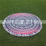 Colourful pom pom round mandala printed omra design cotton round 72 inch beach decor garden product