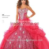 New Arrival Sweetheart Neckline Beaded Sequins Organza Red Quinceanera Dresses