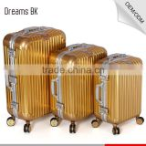 Good quality businessman golden aluminum travel trolley flight case with GPS tracking TSA lock