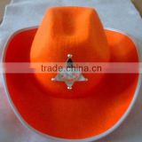 Factory custom 100% orange wool felt black western cheap felt cowboy hard hat with decoration