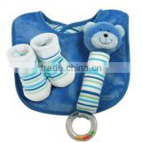 Baby Soft Gift Set / Baby Rattle Bootie Socks Reversible Bib Gift Set