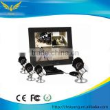 cheap cctv camera kit! TFT-LCD quad monitor with built-in 4 channel h.264 4ch dvr combo cctv camera kit