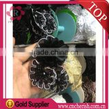 Wholesale high quality black artificial chiffon fabric flower with sliver line decoration for headband