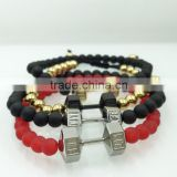 Export Quality Pretty bead stretch bracelet with charm fit life 316l stainless steel dumbbell bracelets, fit life