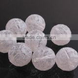 White Color Chunky Acrylic Round Transparent Disco Faceted Print Lace Beads for Jewelry Making Supplier