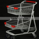 2015 New design hot selling supermarket shopping cart with double layers