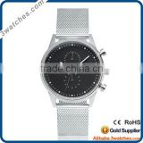 chrono watch classic silver men watches mesh strap fashion japan movt quartz watch stainless steel back chronograph watch