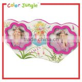 Wood double heart shape frame photo,2 photoes love flower fairy picture frame