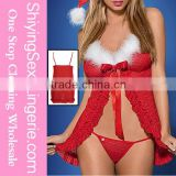 Hot Sale Wholesale 3pcs Sexy Short Babydoll Open Front Mrs.Claus Ladies Santa Costume Top