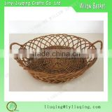 Wholesale Oval shaped brown wicker basket tray bowl bread cosmetics storage