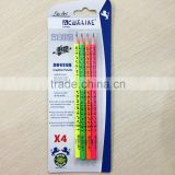 "7"" standard size round shape soft wood neon color body blister card HB pencil with heat rolling logo"