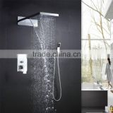 European shower hot cold mixer with embed box 2 function rainfall waterfall shower head and hand shower set for bathroom